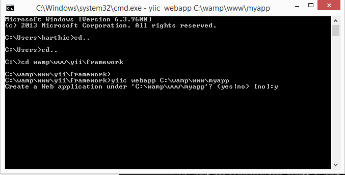 Create Yii Web application in command prompt