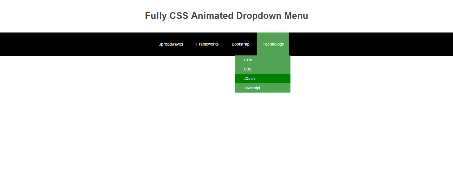 Fully CSS animated dropdown menu